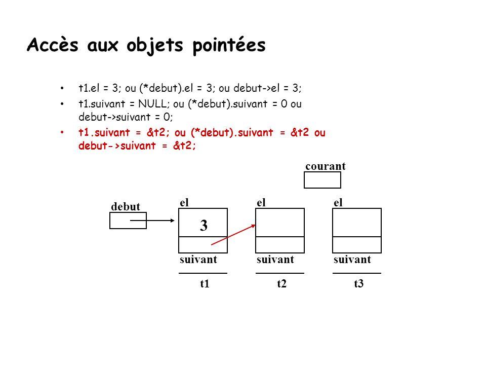t1.el = 3; ou (*debut).el = 3; ou debut->el = 3; t1.suivant = NULL; ou (*debut).suivant = 0 ou debut->suivant = 0; t1.suivant = &t2; ou (*debut).suiva