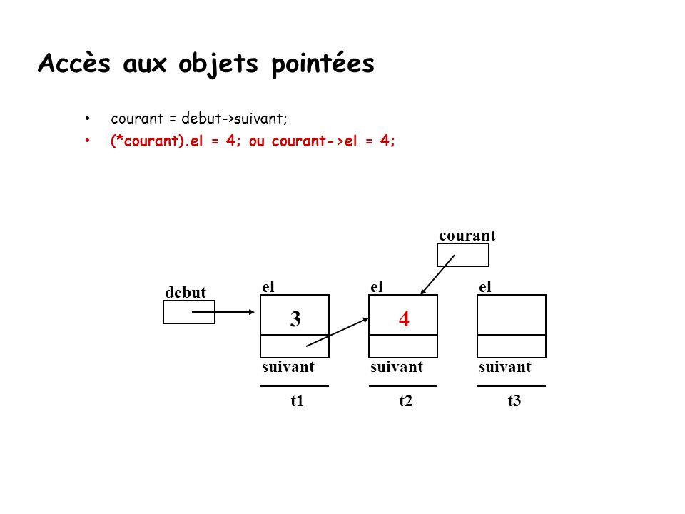 courant = debut->suivant; (*courant).el = 4; ou courant->el = 4; debut el suivant t1 3 el suivant t2 el suivant t3 courant 4 Accès aux objets pointées