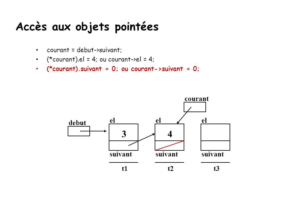 courant = debut->suivant; (*courant).el = 4; ou courant->el = 4; (*courant).suivant = 0; ou courant->suivant = 0; debut el suivant t1 3 el suivant t2