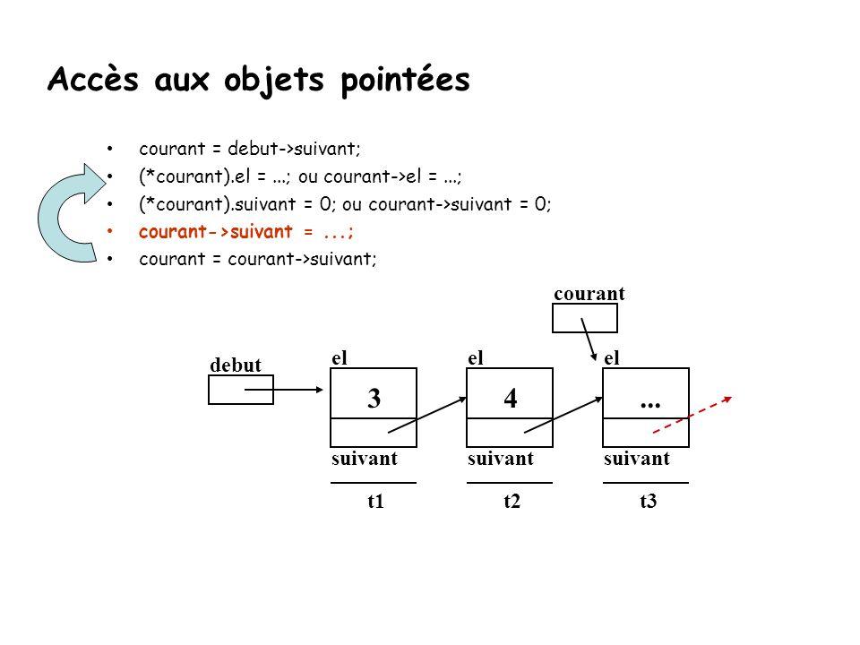 courant = debut->suivant; (*courant).el =...; ou courant->el =...; (*courant).suivant = 0; ou courant->suivant = 0; courant->suivant =...; courant = c