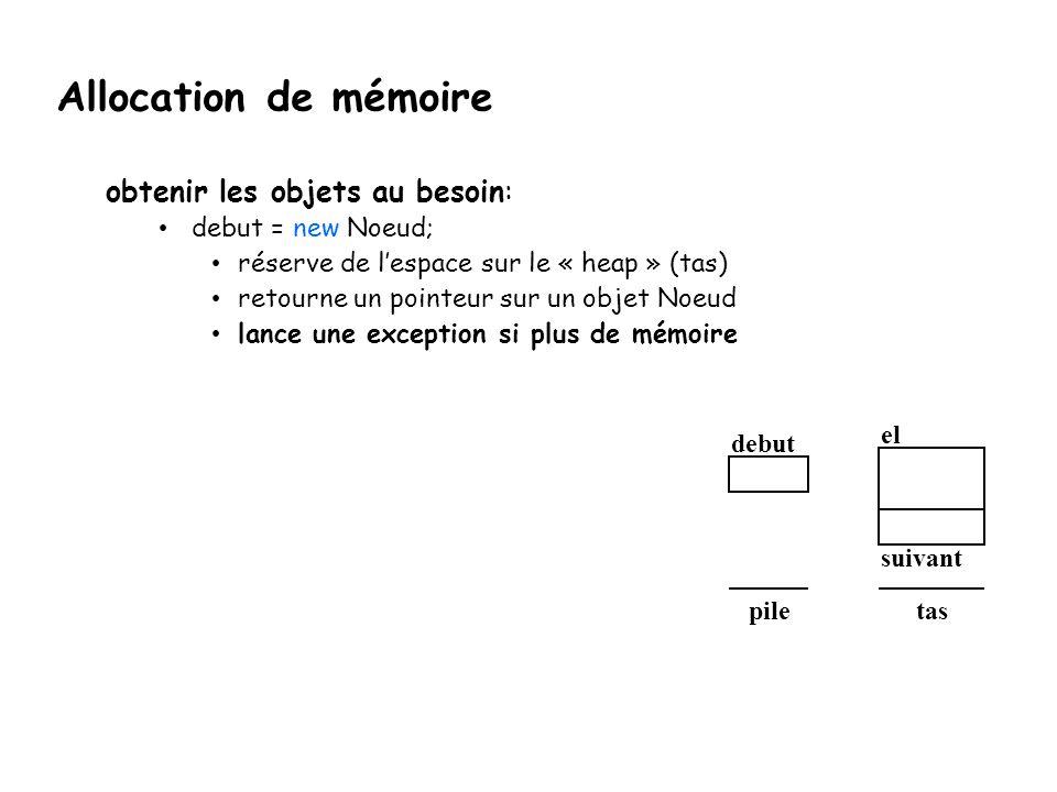 Allocation de mémoire obtenir les objets au besoin: debut = new Noeud; réserve de l'espace sur le « heap » (tas) retourne un pointeur sur un objet Noe