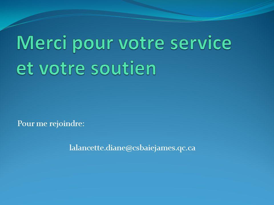 Pour me rejoindre: lalancette.diane@csbaiejames.qc.ca
