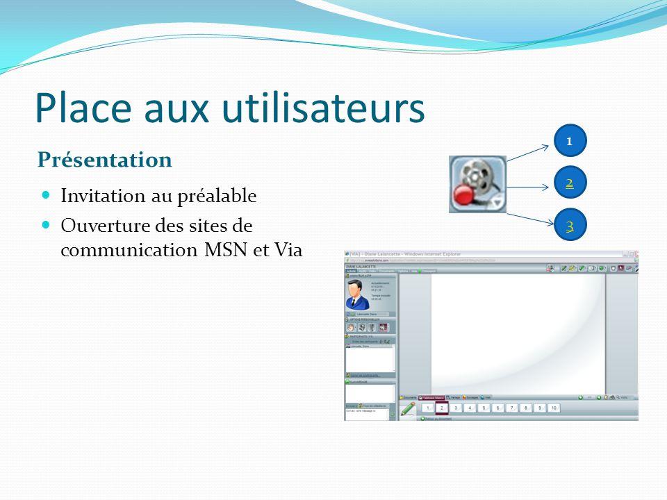 Place aux utilisateurs Présentation Invitation au préalable Ouverture des sites de communication MSN et Via 1 2 3