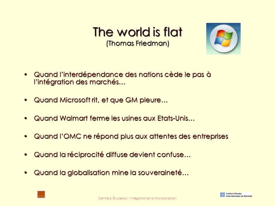Centre d'Études sur l'Intégration et la Mondialisation The world is flat (Thomas Friedman) Quand l'interdépendance des nations cède le pas à l'intégration des marchés…Quand l'interdépendance des nations cède le pas à l'intégration des marchés… Quand Microsoft rit, et que GM pleure…Quand Microsoft rit, et que GM pleure… Quand Walmart ferme les usines aux Etats-Unis…Quand Walmart ferme les usines aux Etats-Unis… Quand l'OMC ne répond plus aux attentes des entreprisesQuand l'OMC ne répond plus aux attentes des entreprises Quand la réciprocité diffuse devient confuse…Quand la réciprocité diffuse devient confuse… Quand la globalisation mine la souveraineté…Quand la globalisation mine la souveraineté…