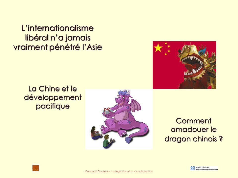 Centre d'Études sur l'Intégration et la Mondialisation La Chine et le développement pacifique L'internationalisme libéral n'a jamais vraiment pénétré l'Asie Comment amadouer le dragon chinois
