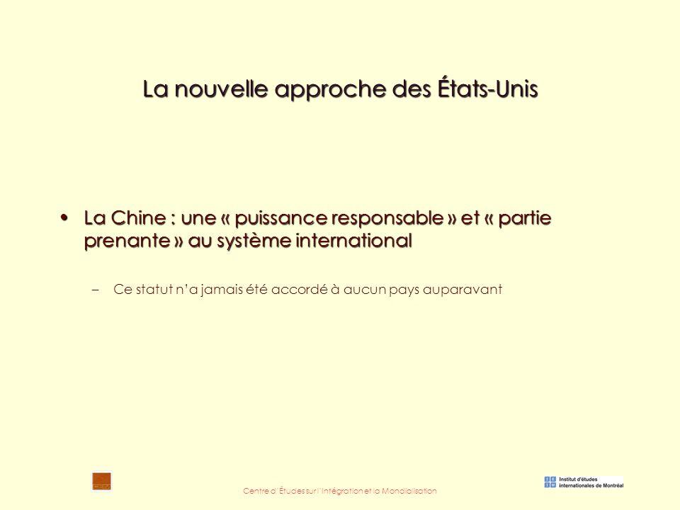 Centre d'Études sur l'Intégration et la Mondialisation La nouvelle approche des États-Unis La Chine : une « puissance responsable » et « partie prenante » au système internationalLa Chine : une « puissance responsable » et « partie prenante » au système international –Ce statut n'a jamais été accordé à aucun pays auparavant