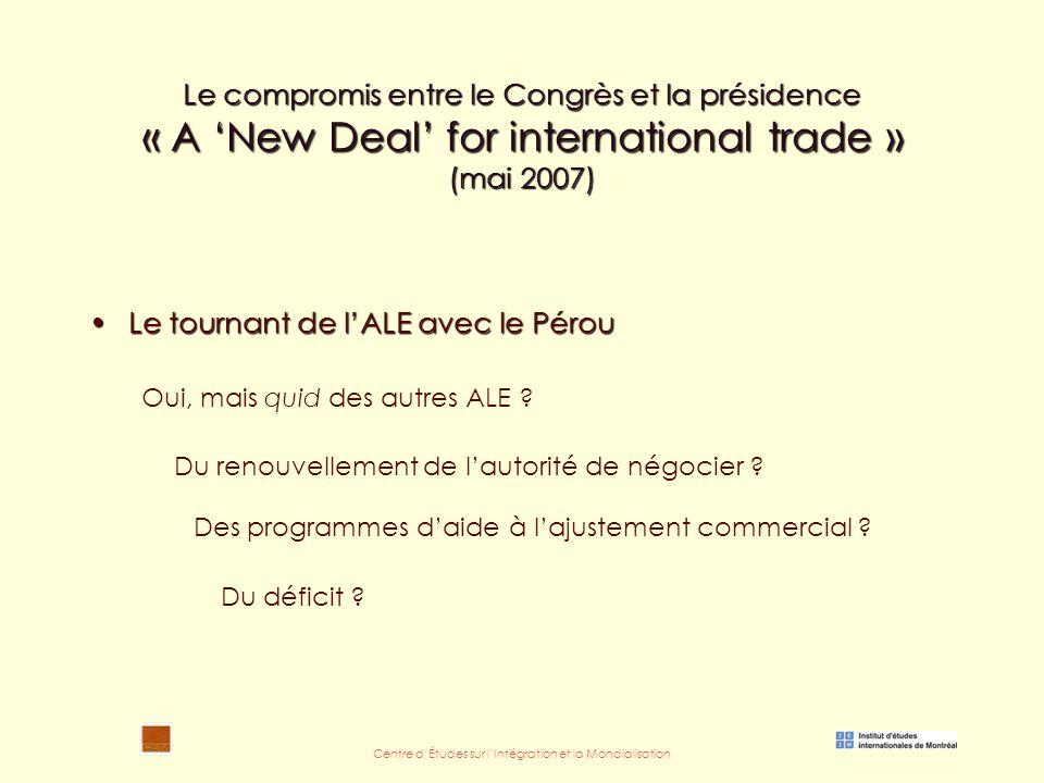 Centre d'Études sur l'Intégration et la Mondialisation Le compromis entre le Congrès et la présidence « A 'New Deal' for international trade » (mai 2007) Le tournant de l'ALE avec le PérouLe tournant de l'ALE avec le Pérou Oui, mais quid des autres ALE .
