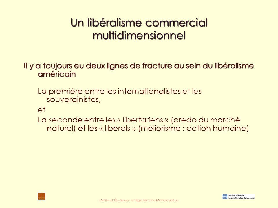 Centre d'Études sur l'Intégration et la Mondialisation Un libéralisme commercial multidimensionnel Il y a toujours eu deux lignes de fracture au sein du libéralisme américain La première entre les internationalistes et les souverainistes, et La seconde entre les « libertariens » (credo du marché naturel) et les « liberals » (méliorisme : action humaine)