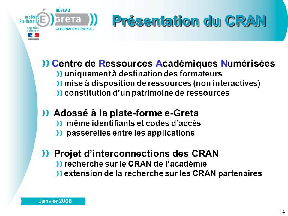 14 Présentation du CRAN Janvier 2008 CRAN Centre de Ressources Académiques Numérisées uniquement à destination des formateurs mise à disposition de re