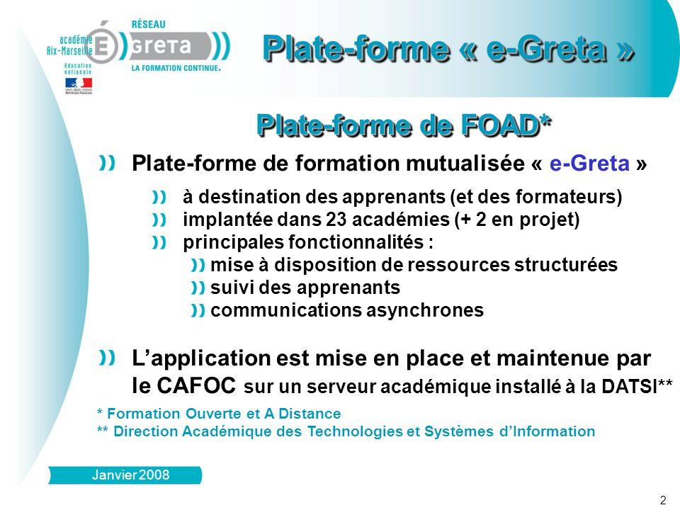 Domaine D1 : (Grand Domaine – Domaine – Sous-Domaine) Module M1Module M(n) Séquence S1 Séquence S2 Séquence S(n) Module M2 Plate-forme « e-Greta » Organisation des ressources Plate-forme « e-Greta » Organisation des ressources 3 Janvier 2008