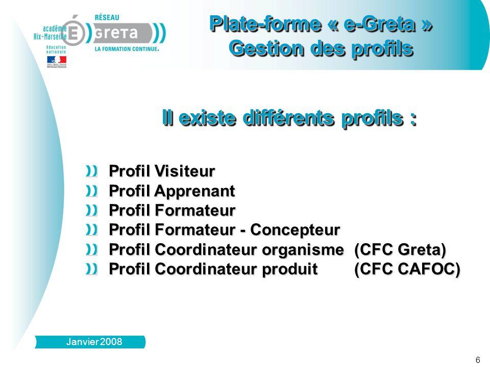 6 Plate-forme « e-Greta » Gestion des profils Plate-forme « e-Greta » Gestion des profils Janvier 2008 Il existe différents profils : Profil Visiteur