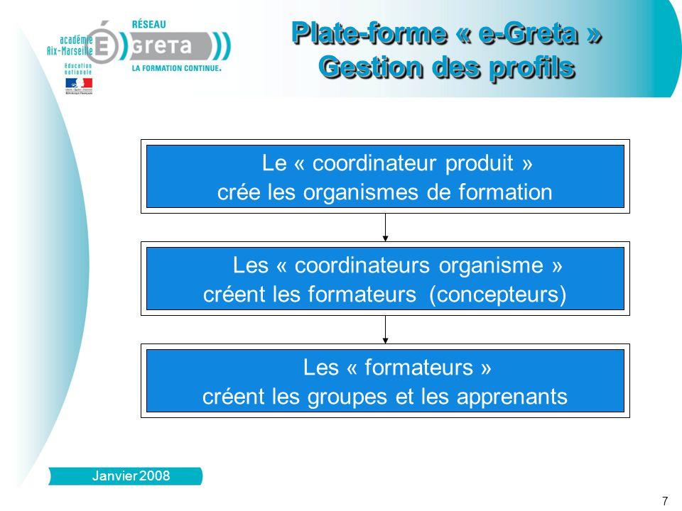 8 Plate-forme « e-Greta » Gestion des profils Plate-forme « e-Greta » Gestion des profils Janvier 2008 Le « coordinateur produit » crée les intitulés des niveaux, domaines et modules de formation Les « formateurs - concepteurs » créent les séquences et les activités