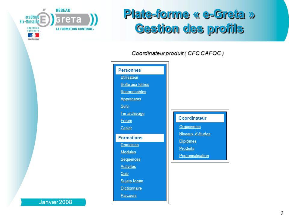 9 Plate-forme « e-Greta » Gestion des profils Plate-forme « e-Greta » Gestion des profils Janvier 2008 Personnes Utilisateur Boîte aux lettres Respons