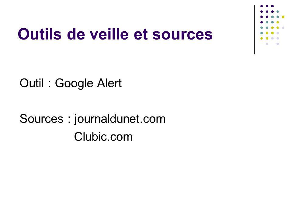 Outils de veille et sources Outil : Google Alert Sources : journaldunet.com Clubic.com
