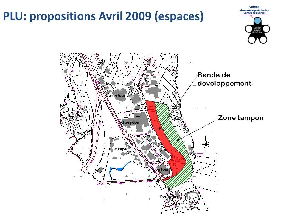 Carrefour Creps Pompiers Foirfouille Gueydon Bande de développement Zone tampon PLU: propositions Avril 2009 (espaces)