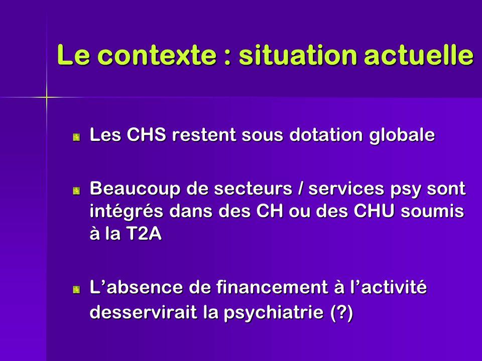 Les CHS restent sous dotation globale Beaucoup de secteurs / services psy sont intégrés dans des CH ou des CHU soumis à la T2A L'absence de financement à l'activité desservirait la psychiatrie (?) Le contexte : situation actuelle