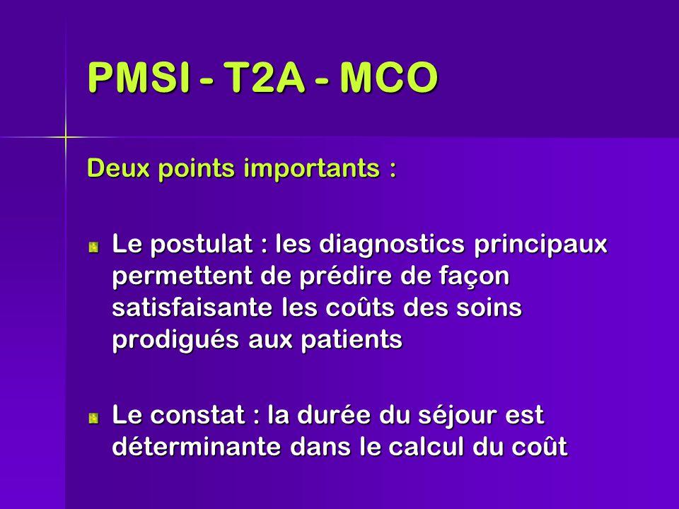 Deux points importants : Le postulat : les diagnostics principaux permettent de prédire de façon satisfaisante les coûts des soins prodigués aux patients Le constat : la durée du séjour est déterminante dans le calcul du coût PMSI - T2A - MCO