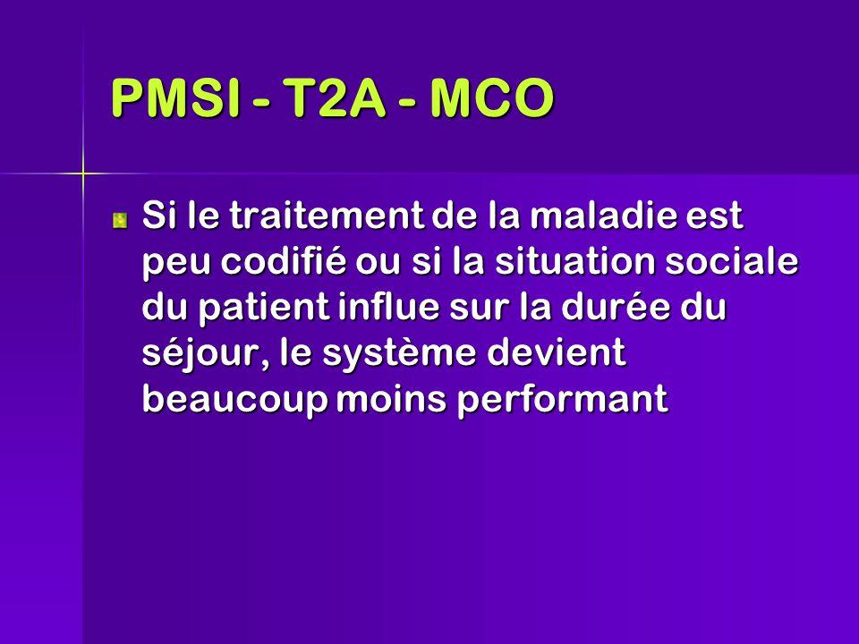 Si le traitement de la maladie est peu codifié ou si la situation sociale du patient influe sur la durée du séjour, le système devient beaucoup moins performant PMSI - T2A - MCO