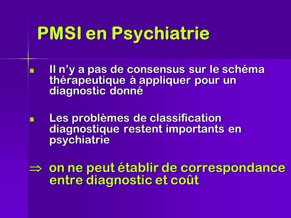PMSI en Psychiatrie Il n'y a pas de consensus sur le schéma thérapeutique à appliquer pour un diagnostic donné Les problèmes de classification diagnostique restent importants en psychiatrie  on ne peut établir de correspondance entre diagnostic et coût