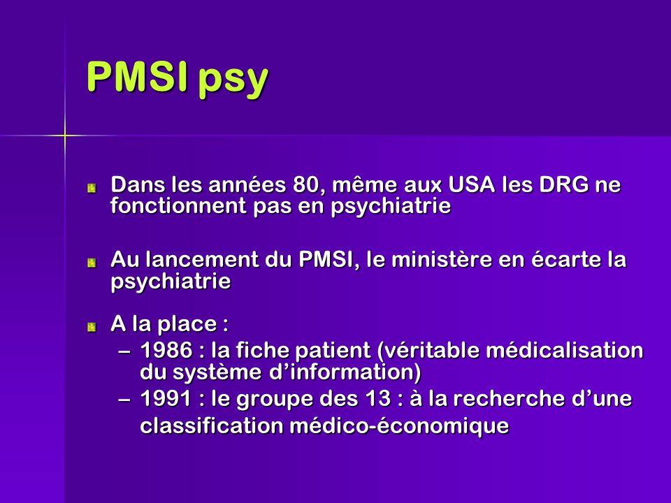 PMSI psy Dans les années 80, même aux USA les DRG ne fonctionnent pas en psychiatrie Au lancement du PMSI, le ministère en écarte la psychiatrie A la place : –1986 : la fiche patient (véritable médicalisation du système d'information) –1991 : le groupe des 13 : à la recherche d'une classification médico-économique
