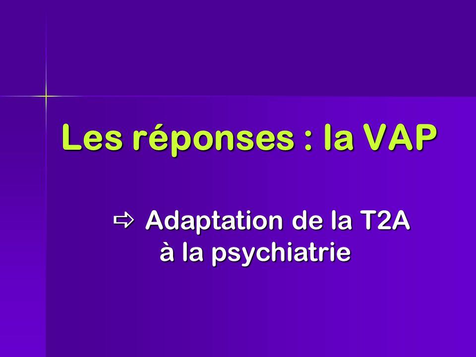 Les réponses : la VAP  Adaptationde la T2A à la psychiatrie  Adaptation de la T2A à la psychiatrie