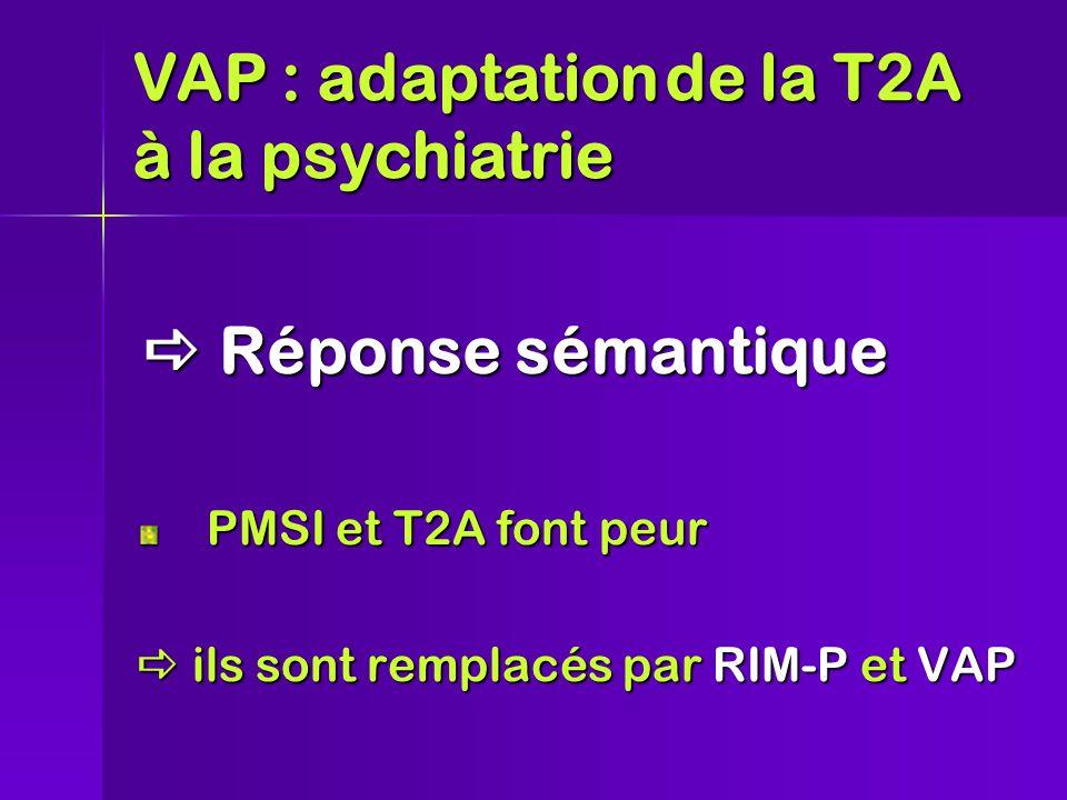  Réponse sémantique PMSI et T2A font peur  ils sont remplacés par RIM-P et VAP VAP : adaptationde la T2A à la psychiatrie VAP : adaptation de la T2A à la psychiatrie