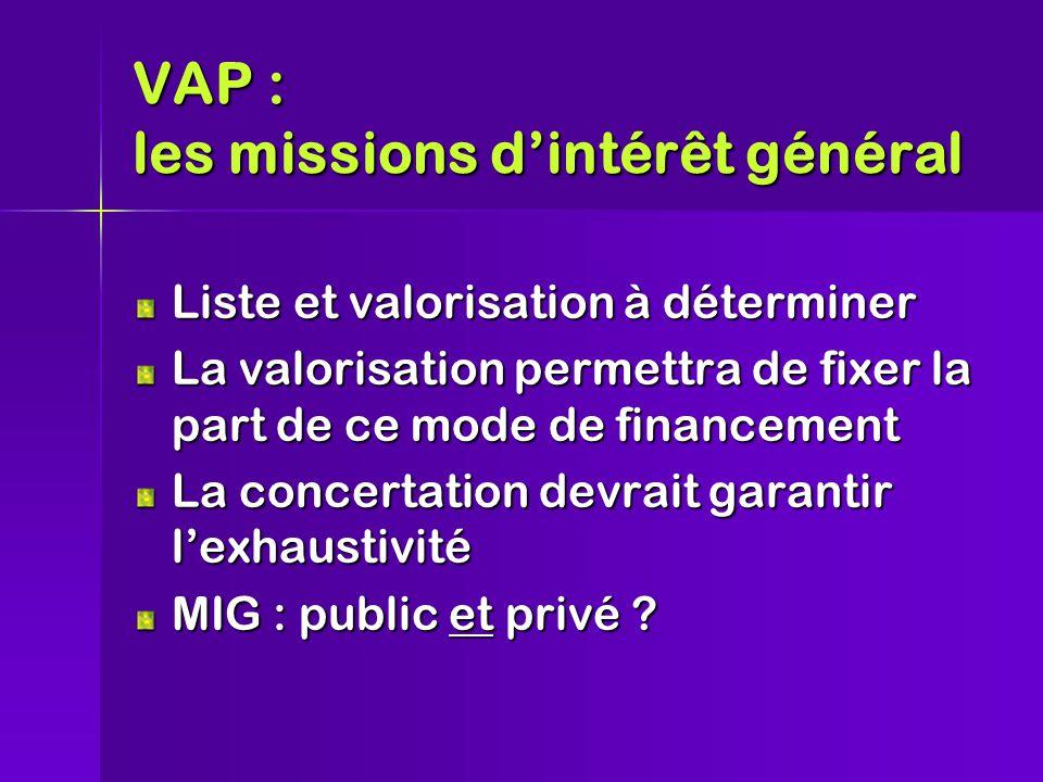 VAP : les missions d'intérêt général Liste et valorisation à déterminer La valorisation permettra de fixer la part de ce mode de financement La concertation devrait garantir l'exhaustivité MIG : public et privé ?