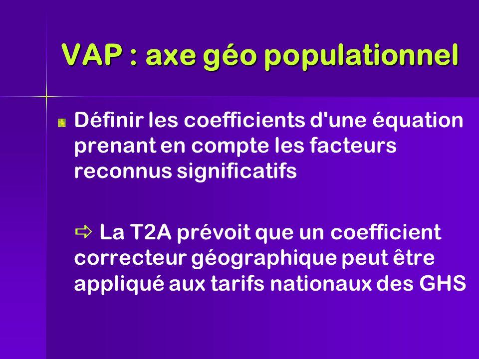 Définir les coefficients d une équation prenant en compte les facteurs reconnus significatifs  La T2A prévoit que un coefficient correcteur géographique peut être appliqué aux tarifs nationaux des GHS VAP : axe géo populationnel