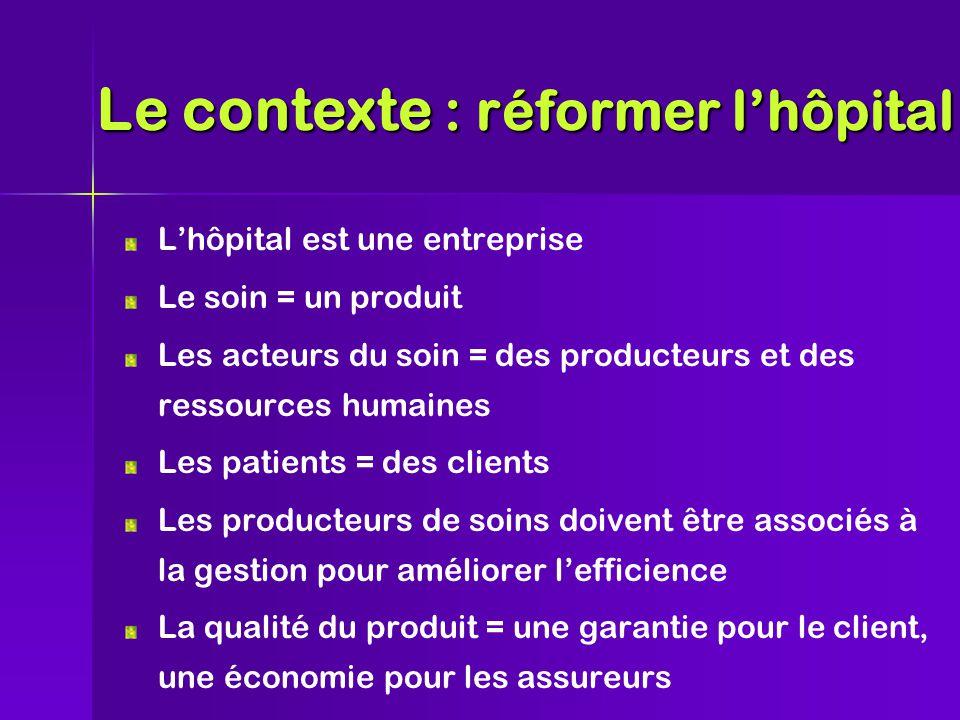 L'hôpital est une entreprise Le soin = un produit Les acteurs du soin = des producteurs et des ressources humaines Les patients = des clients Les producteurs de soins doivent être associés à la gestion pour améliorer l'efficience La qualité du produit = une garantie pour le client, une économie pour les assureurs Le contexte : réformer l'hôpital
