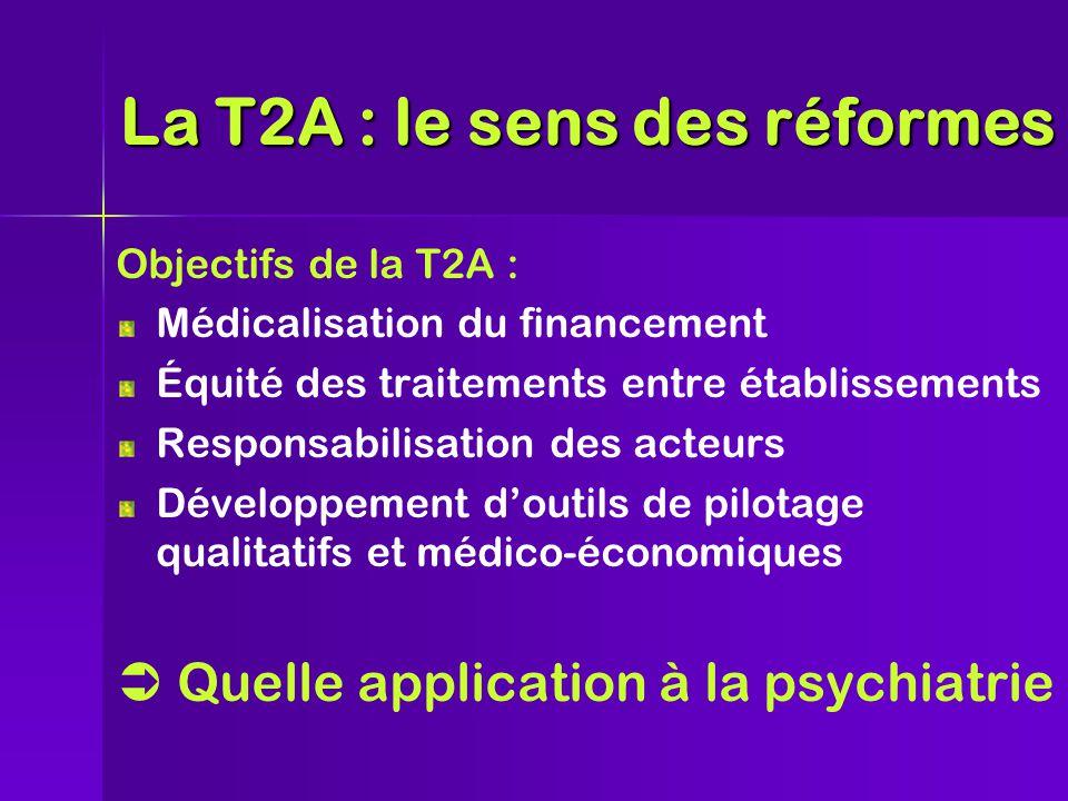 Objectifs de la T2A : Médicalisation du financement Équité des traitements entre établissements Responsabilisation des acteurs Développement d'outils de pilotage qualitatifs et médico-économiques  Quelle application à la psychiatrie