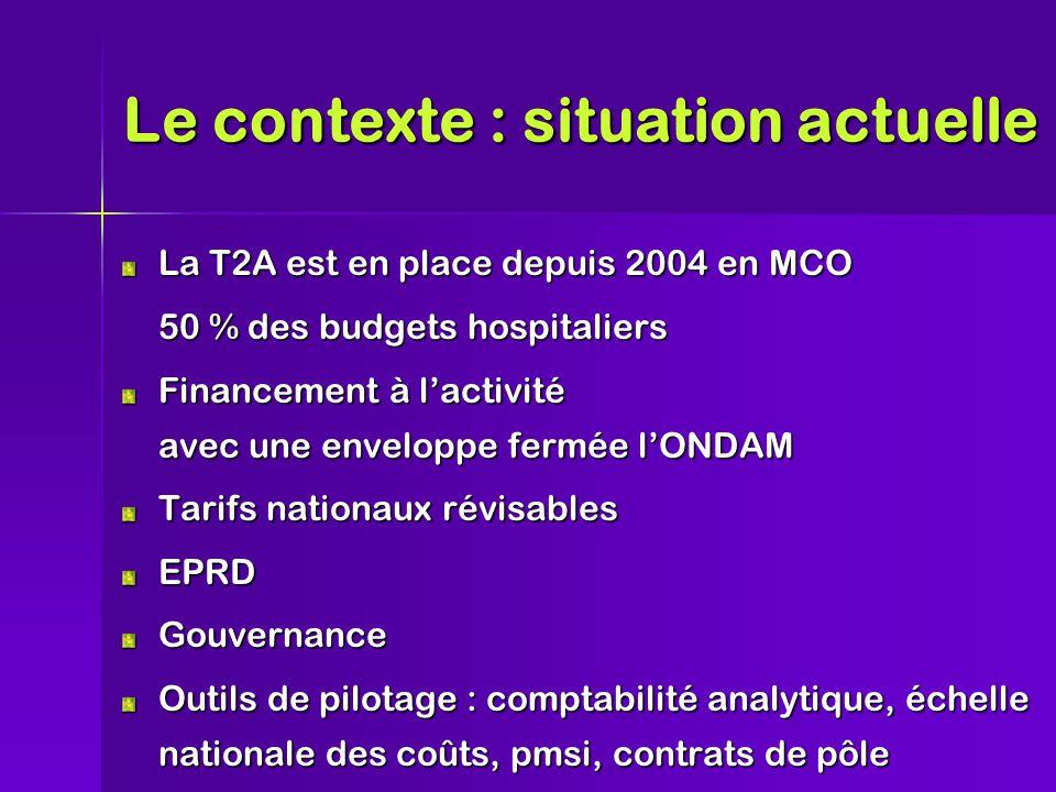 Le contexte : situation actuelle La T2A est en place depuis 2004 en MCO 50 % des budgets hospitaliers Financement à l'activité avec une enveloppe fermée l'ONDAM Tarifs nationaux révisables EPRDGouvernance Outils de pilotage : comptabilité analytique, échelle nationale des coûts, pmsi, contrats de pôle