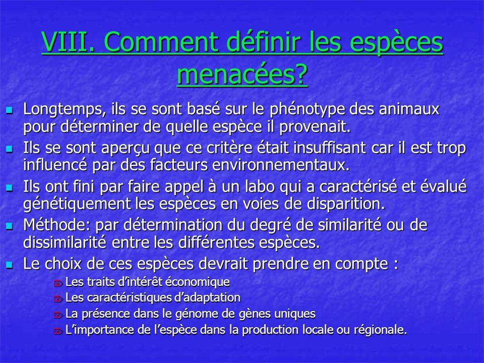 VIII.Comment définir les espèces menacées.