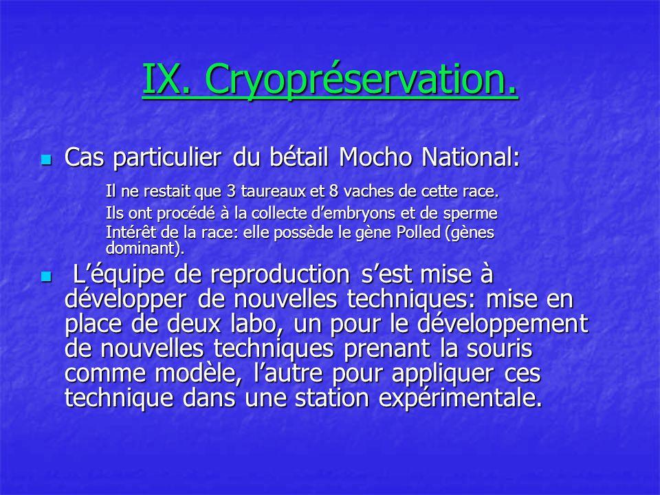 IX.Cryopréservation.