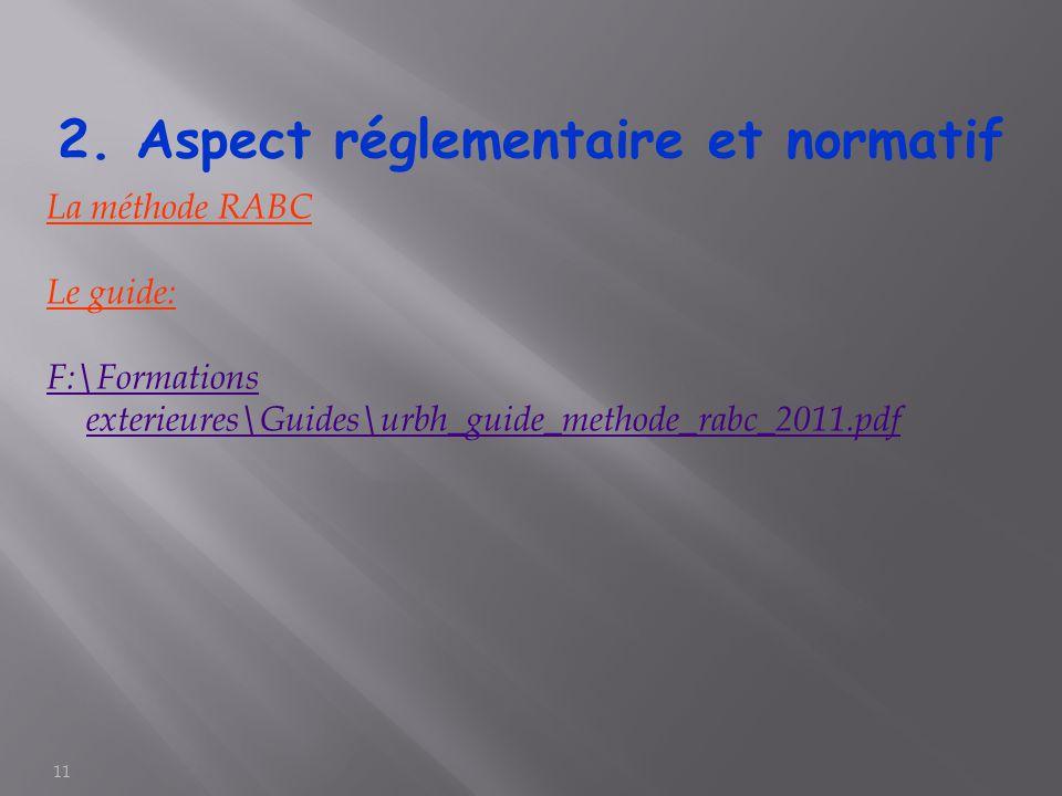 11 La méthode RABC Le guide: F:\Formations exterieures\Guides\urbh_guide_methode_rabc_2011.pdf 2. Aspect réglementaire et normatif