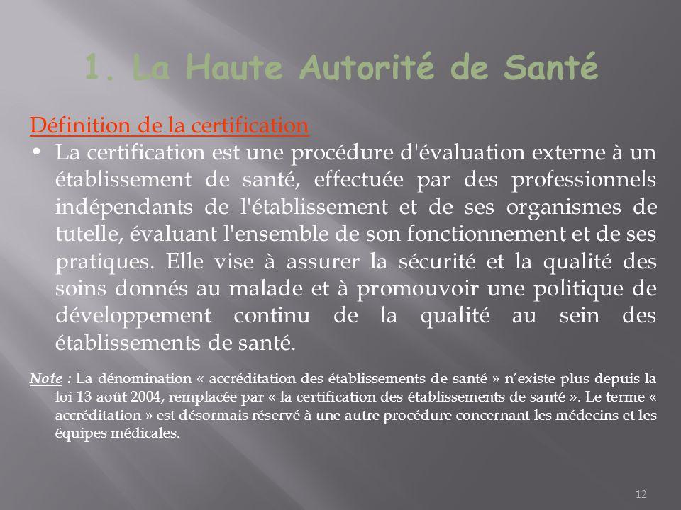 12 Définition de la certification La certification est une procédure d'évaluation externe à un établissement de santé, effectuée par des professionnel