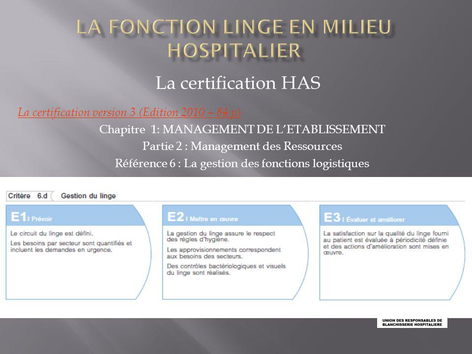 La certification HAS JIQHS /25 nov 2013 La certification version 3 (Edition 2010 – 84 p) Chapitre 1: MANAGEMENT DE L'ETABLISSEMENT Partie 2 : Manageme