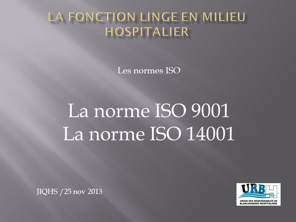 Les normes ISO La norme ISO 9001 La norme ISO 14001 JIQHS /25 nov 2013