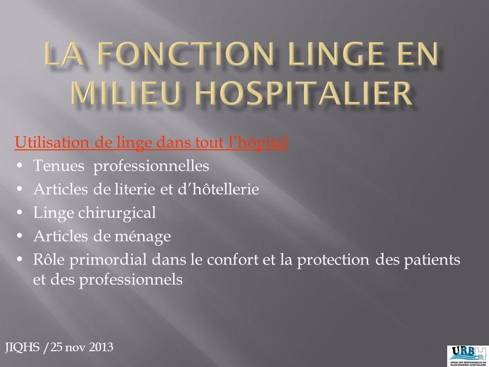 JIQHS /25 nov 2013 Utilisation de linge dans tout l'hôpital Tenues professionnelles Articles de literie et d'hôtellerie Linge chirurgical Articles de
