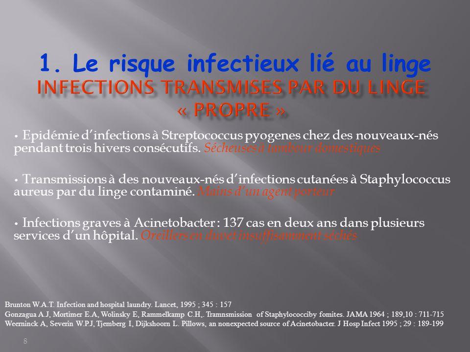 8 Epidémie d'infections à Streptococcus pyogenes chez des nouveaux-nés pendant trois hivers consécutifs. Sécheuses à tambour domestiques Transmissions