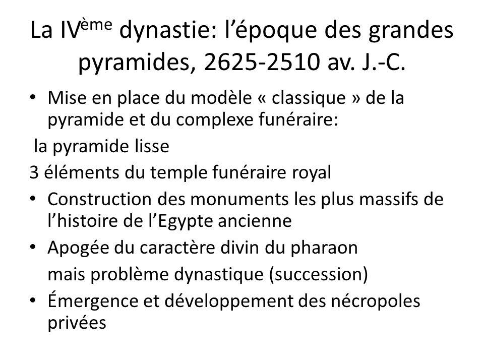 La IV ème dynastie: l'époque des grandes pyramides, 2625-2510 av. J.-C. Mise en place du modèle « classique » de la pyramide et du complexe funéraire: