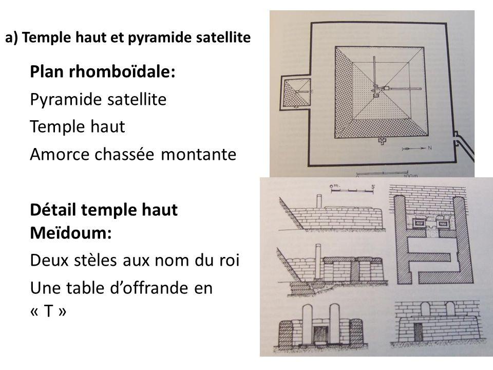 a) Temple haut et pyramide satellite Plan rhomboïdale: Pyramide satellite Temple haut Amorce chassée montante Détail temple haut Meïdoum: Deux stèles