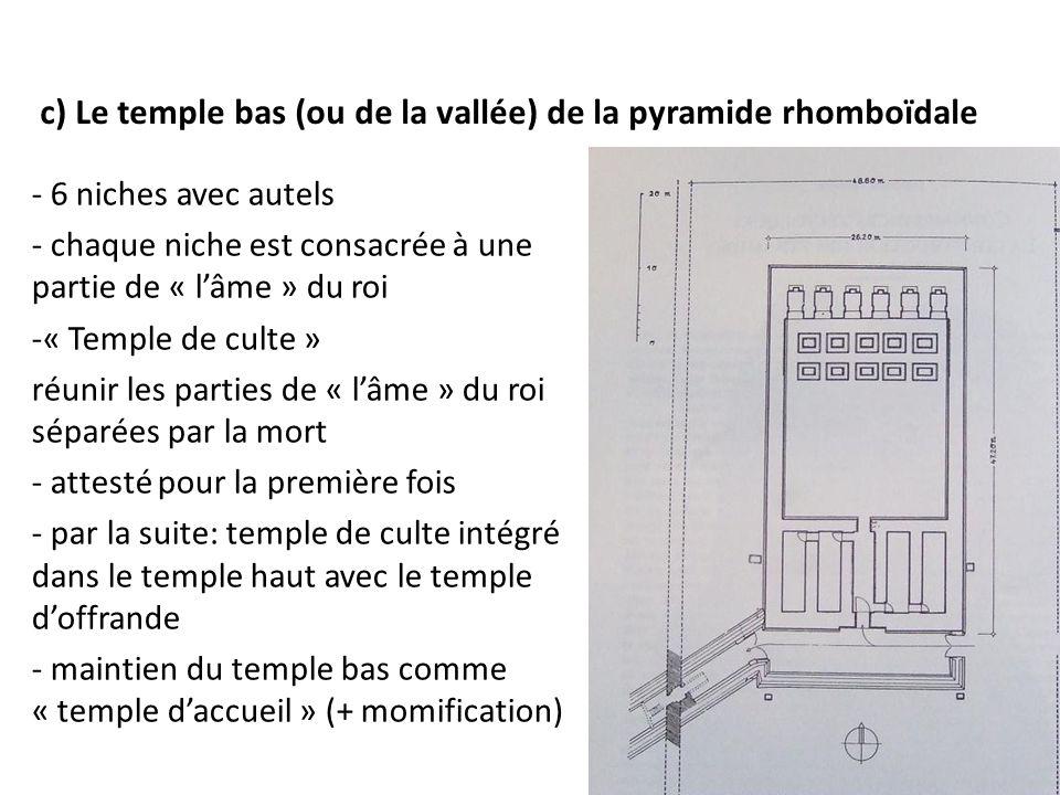 c) Le temple bas (ou de la vallée) de la pyramide rhomboïdale - 6 niches avec autels - chaque niche est consacrée à une partie de « l'âme » du roi -«