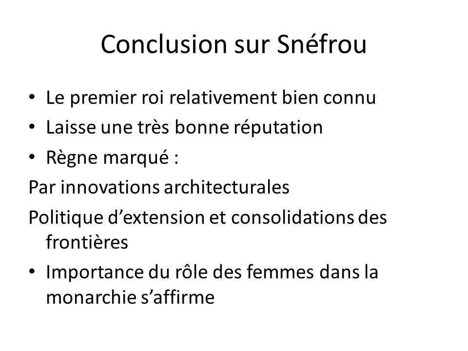 Conclusion sur Snéfrou Le premier roi relativement bien connu Laisse une très bonne réputation Règne marqué : Par innovations architecturales Politiqu