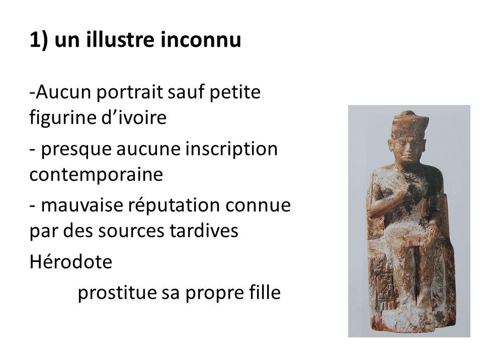1) un illustre inconnu -Aucun portrait sauf petite figurine d'ivoire - presque aucune inscription contemporaine - mauvaise réputation connue par des s