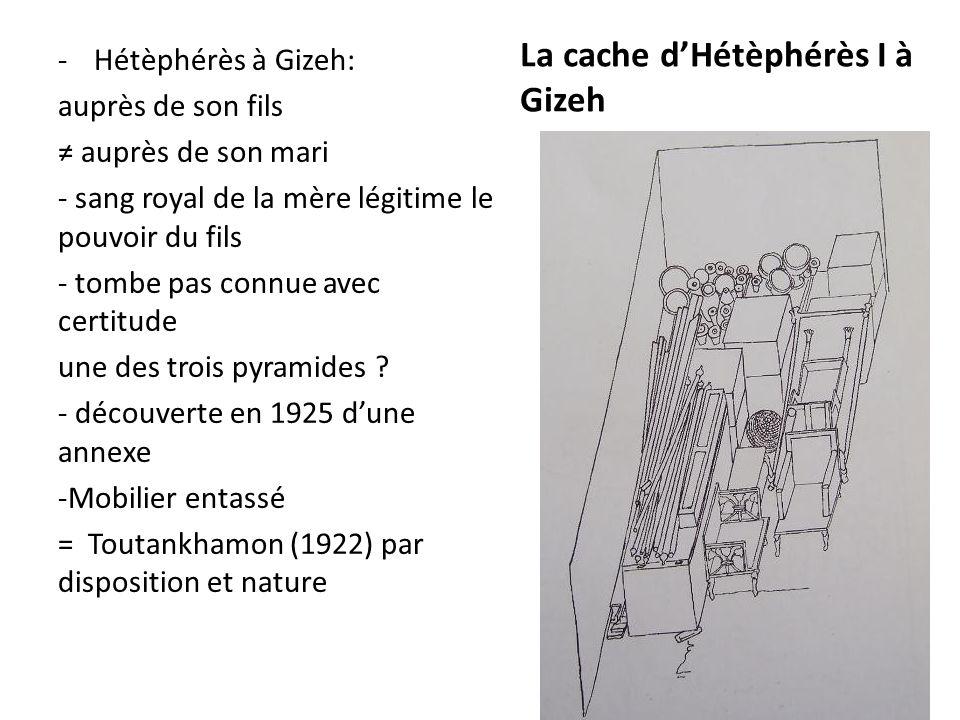 La cache d'Hétèphérès I à Gizeh -Hétèphérès à Gizeh: auprès de son fils ≠ auprès de son mari - sang royal de la mère légitime le pouvoir du fils - tom