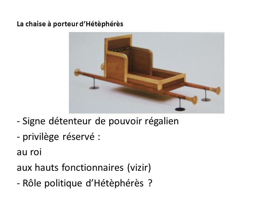 La chaise à porteur d'Hétèphérès - Signe détenteur de pouvoir régalien - privilège réservé : au roi aux hauts fonctionnaires (vizir) - Rôle politique