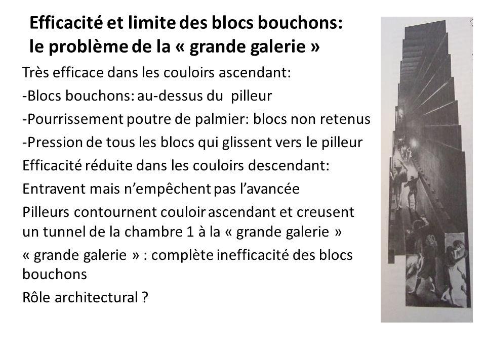 Efficacité et limite des blocs bouchons: le problème de la « grande galerie » Très efficace dans les couloirs ascendant: -Blocs bouchons: au-dessus du