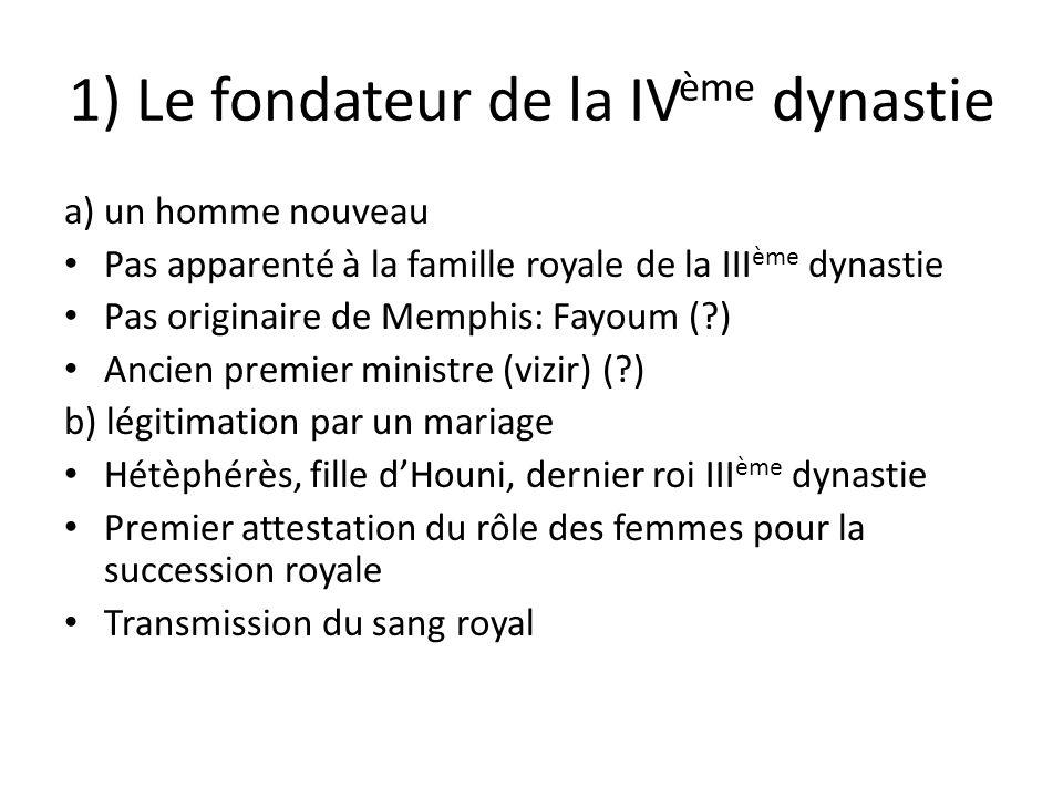 1) Le fondateur de la IV ème dynastie a) un homme nouveau Pas apparenté à la famille royale de la III ème dynastie Pas originaire de Memphis: Fayoum (