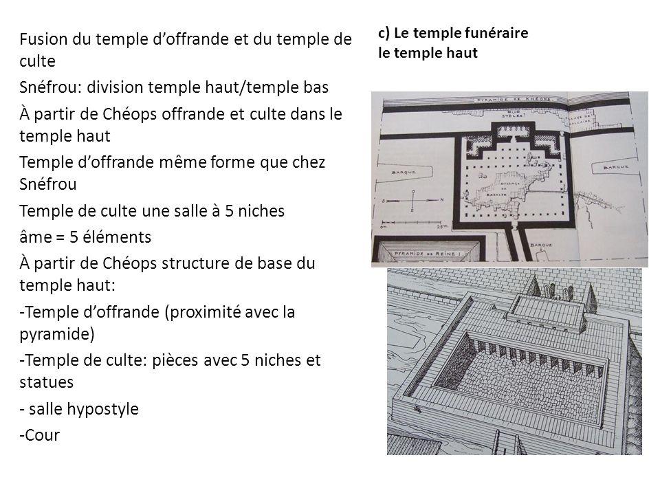 c) Le temple funéraire le temple haut Fusion du temple d'offrande et du temple de culte Snéfrou: division temple haut/temple bas À partir de Chéops of