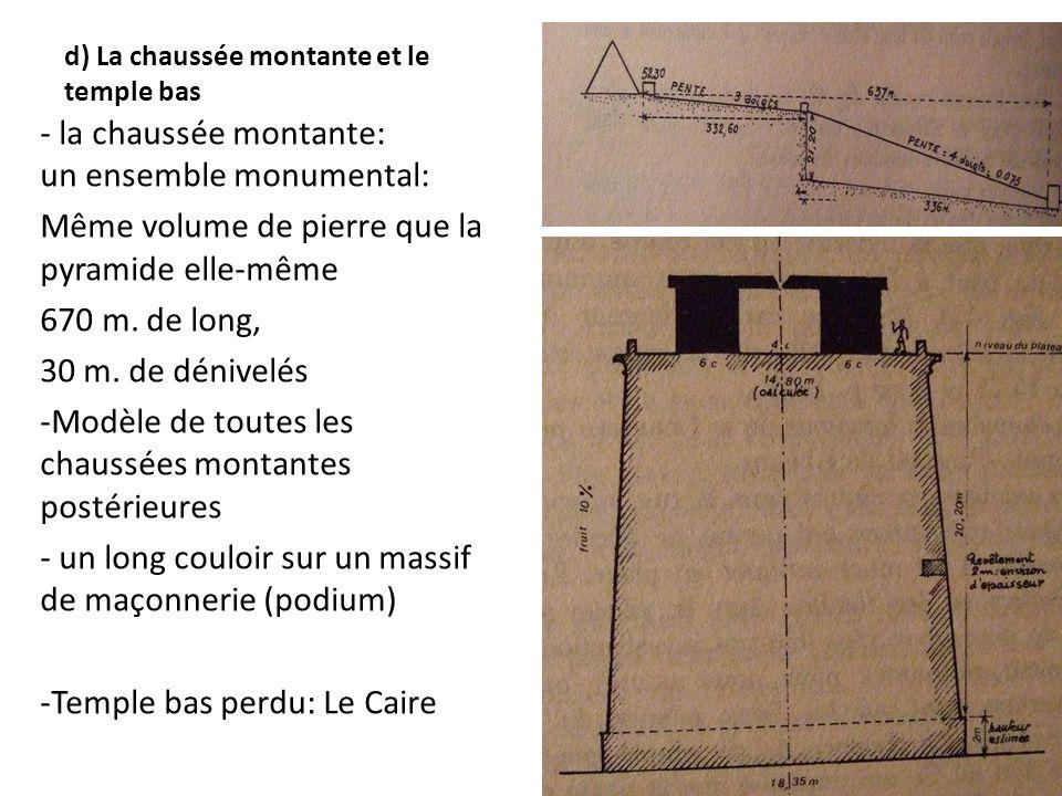 d) La chaussée montante et le temple bas - la chaussée montante: un ensemble monumental: Même volume de pierre que la pyramide elle-même 670 m. de lon